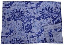 Bird Blue Kantha Quilt Indian Antique Handmade Bedspread Cotton King Size Crazy