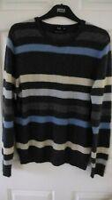 F&F 100% Cashmere Crew neck blue stripy long sleeve Jumper  sz 14-16