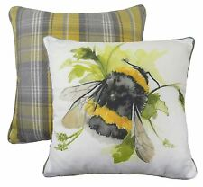 """REVERSIBLE BUMBLE BEE FLORAL TARTAN EVANS LICHFIELD YELLOW CUSHION COVER 17"""""""