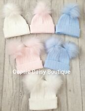 Baby Girls & Boys Lovely Knitted Pom Pom Hats Size Newborn & 3-12 Months ⭐