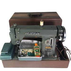 Vintage Morse Sewing Machine Model R5L With Storage Case and Accessories Box