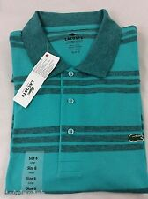 Lacoste Men's Polo Shirt Brand NWT Thalassa Blue Grey Stripes Size EU 8 US 2XL