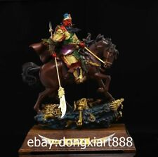China Bronze Painted Dragon Guan Gong Guan Yu YunChang Soldier Ride Horse Statue