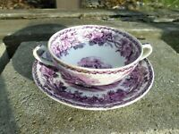ENGLAND BOOTHS BRITISH SCENERY Cup Saucer Soup Bouillon Cup PURPLE VINTAGE