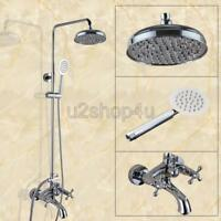 Wall Mounted Chrome Brass Bathroom Rain Shower Faucet Set Tub Mixer Tap Ucy358