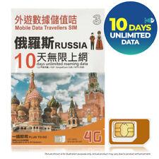 RUSSIA 10Days UNLIMITED DATA 3THREE Vimplecom MTS Prepaid Travel SIM CARD 4G EU