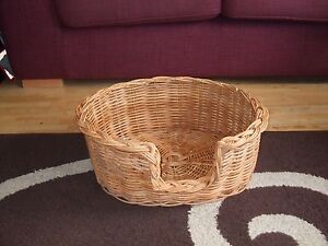 QUALITY RATTAN DOG CAT BASKET BROWN EX SMALL 45 X 49 X 19 CM WITH FREE BLANKET