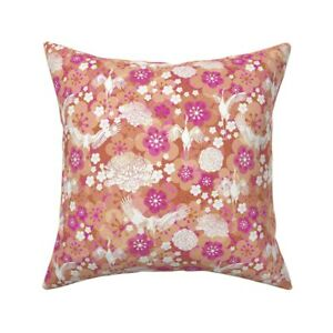 Japanese Garden Japan Cranes Throw Pillow Cover w Optional Insert by Roostery