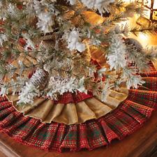 Whitton Ruffled Christmas Tree Skirt 21 D Natural Burlap Red