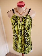GOLD BEADS Lime Green Black TOP Size M 14 Rockmans Sleeveless Stretch Print