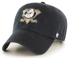 ANAHEIM MIGHTY DUCKS NHL BLACK STRAPBACK DAD CAP HAT CLEAN UP NEW! '47 BRAND