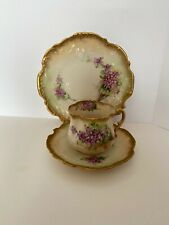 ANTIQUE NAUTILUS PORCELAIN HAND PAINTED CUP, SAUCER AND PLATE ~ PURPLE FLOWERS