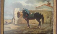 Tableau ancien 19 ème.  Cheval dans cour de ferme .de J. VEYRASSAT
