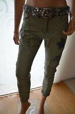 Damen Jeans Basic Röhrenjeans mit Gürtel Skinny Stretch khaki Baumwolle 33256