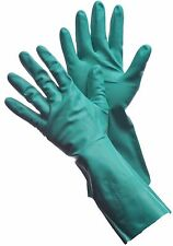 "Premium Green Nitrile Gloves, - 15 Mil, 13"" Long, Flock Lined - 12 Pairs - Large"