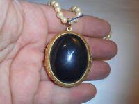 HOBE 25CT Onyx Pillbox LOCKET Necklace Choker 5mm Majorca Pearls Vintage MINT
