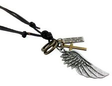 Jewellery Mans Men's Leather Silver Cross Wing Pendant Necklace Chain Urban Gift