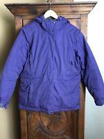 LL Bean EUC Women's Goose Down Parka Jacket Detachable Hood. Purple Size Large