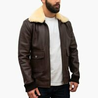 Genuine SheepSkin men's fur collared jackets new fashion leather coat