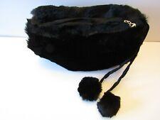 New listing Vintage Nos Talon Black Fur Muff Handwarmer Purse With Pom Poms Satin Lined