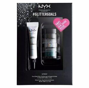 NYX #GLITTERGOALS 3 Pots Eyes Face Body & Glue Primer Kit Green/Crystal/Noir NEW