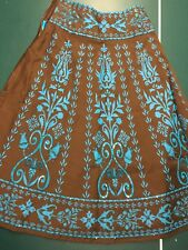 Beaded cotton skirt with striking pattern and color combo. Size 4