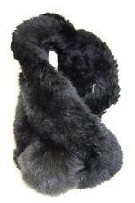 RETRO CHIC BLACK FAUX FUR SCARF/STOLE BIG FURRY POMPOM 'BUTTON CLASP' (MS27)