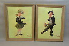 Signed Pair 1960s Lloyd Herfindahl Original Painting Albert Lea Minnesota oil