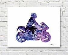 Motorcycle Watercolor Abstract Art Print by Artist DJR