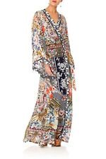 CAMILLA THE LONELY WILD PRINT WRAP DRESS MAXI LENGTH KIMONO SLEEVE SIZE S