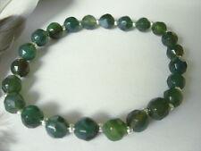 7 mm dunkel grüner Achat Armband Armkette Bracelet facettiert 20,5 cm