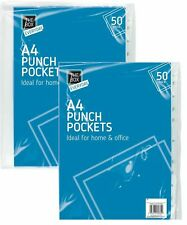 100 X A4 PLASTIC PUNCH PUNCHED POCKETS FOLDERS FILING WALLETS SLEEVES 30 MICRON