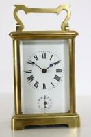 ALARM CARRIAGE CLOCK antique FRENCH sounding on a bell WORKING