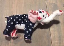 "NWT TY Beanie Babies Righty 2000 Patriotic Elephant USA Flag Print Plush Sz: 9"""