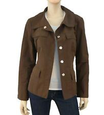 CHARLES NOLAN Cropped Brown Nylon Snap Front Casual Jacket 12 NEW