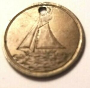 SAILBOAT & INITIALS SILVER SEATED DIME LOVE TOKEN