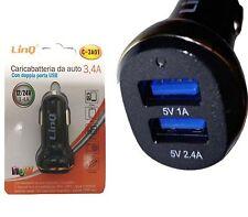 CARICATORE DA AUTO PER SAMSUNG GALAXY S5 DOPPIA USB 3.4A CARICABATTERIE LINQ C-3