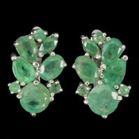 Unheated Oval Emerald 6x4mm 14K White Gold Plate 925 Sterling Silver Earrings