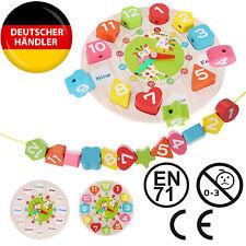 Lernuhr Spieluhr Holz Lernspielzeug Kinderuhr Uhrzeit lernen Holzuhr für Kinder