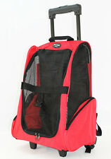 Red Pet Carrier Dog  Rolling BackPack Travel Airline Wheel Luggage Bag