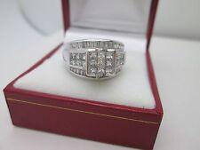 14K White Gold Invisible Set Princess Diamond Engagement Wedding Ring 2CT