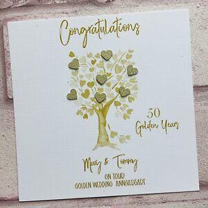 PERSONALISED Handmade 50th GOLDEN WEDDING ANNIVERSARY CARD Heart Tree 50