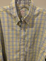 Men's Brooks Brothers 346 Yellow White Blue Button Down Shirt L Lg Spring Easter