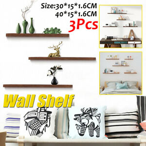 3PCS Wall Floating Shelf Shelves Wooden Wall Storage Unit Book Mounted