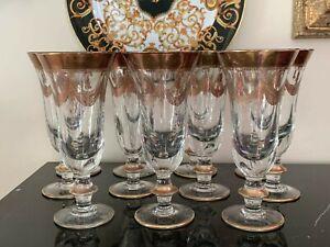 "Arte Italica Crystal Medici Gold 7 3/4"" Iced Tea Glasses Set of 11"