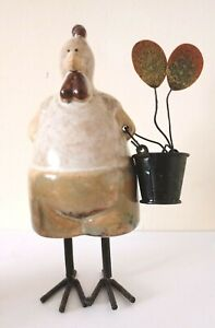 Ceramic Chicken Hen Rooster Quirky Ornament Home Decor Glazed Pottery