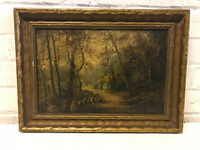 Antique George Willis Pryce Signed Oil on Canvas Landscape Painting Figure House