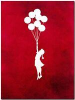"BANKSY STREET ART CANVAS PRINT Girl & Balloons red 8""X 10"" stencil poster"