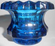 cobalt blue glass salt dip cellar celt star diamond pattern master Green candle