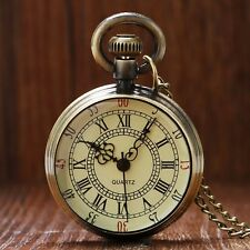 Vintage Antique Style Roman Number Open Face Quartz Pocket Watch Chain Xmas Gift